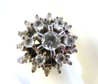 Vintage Style Large Raised Rhinestone Cluster Ring.